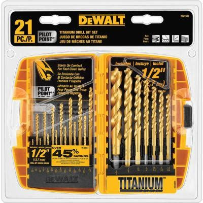 drill bit set home depot dewalt titanium pilot point drill bit set 21