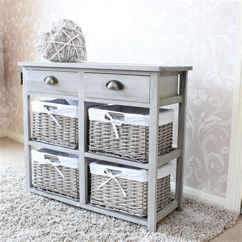 Two Drawer and Four Wicker Basket Storage Unit   Vintage