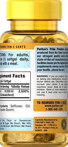 Puritan Pride Vitamin D3 10000iu Isi 100 puritan s pride vitamin d3 10 000 iu 100 softgels truevitaminshop