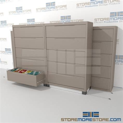 3 2 Rolling Lateral Filing Cabinets On Tracks 42 Quot Wide Rolling Lateral File Cabinet
