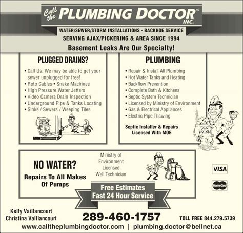call the plumbing doctor canpages
