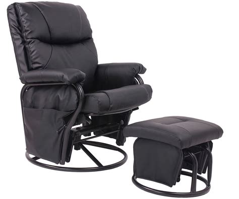 Leather Rocking Chairs For Nursery Pu Leather Baby Nursery Swivel Glider Recliner Rocking Chair And Ottoman Set Ebay