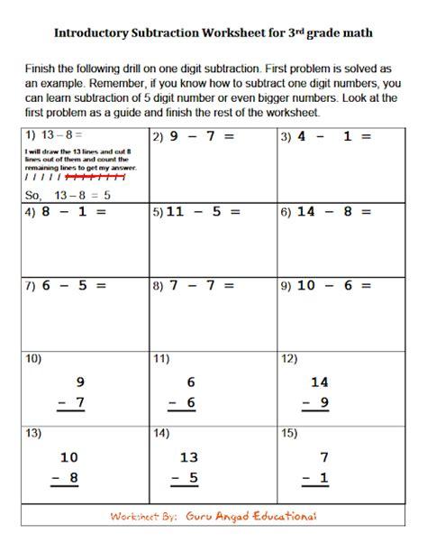 Subtraction Worksheets 3rd Grade