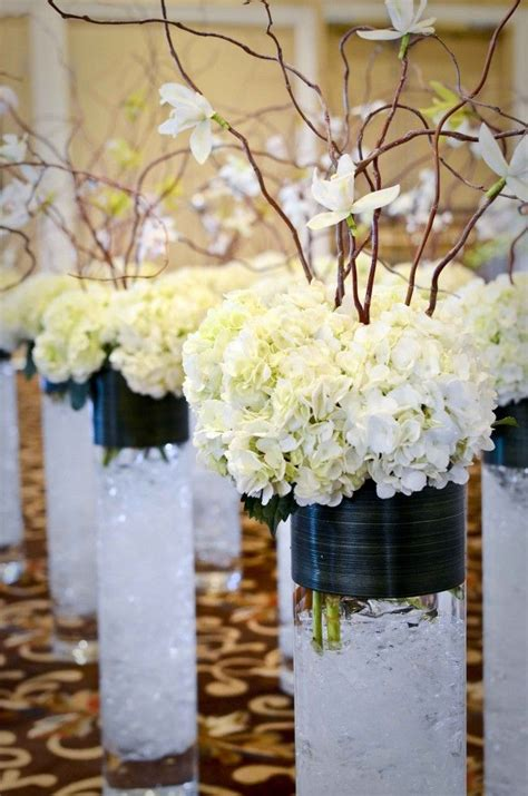 Hydrangeas With Orchids On Willows Centerpieces Crafty Hydrangea Wedding Centerpieces