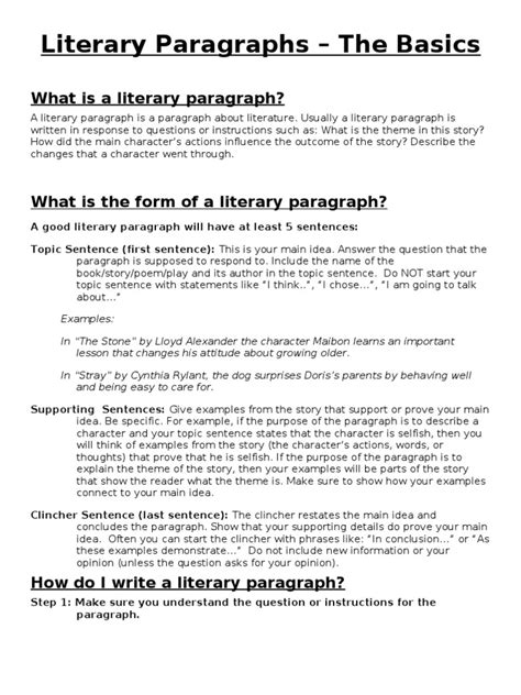 5 Paragraph Literary Analysis Essay Exle by Literary Paragraph Guidelines Paragraph Sentence Linguistics