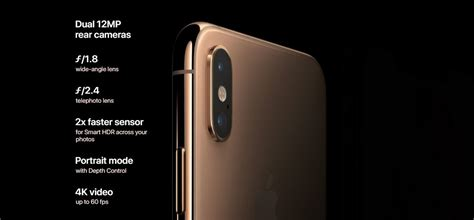 apple iphone xs max 4gb ram 64gb rom ios 12 12mp 12mp 7mp dual sim gold