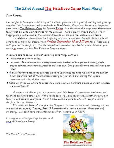 Introduction Letter Host Family Host A Family Read Along This School Year Scholastic