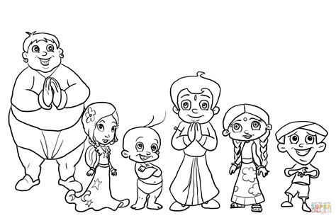 chhota bheem characters coloring page free printable