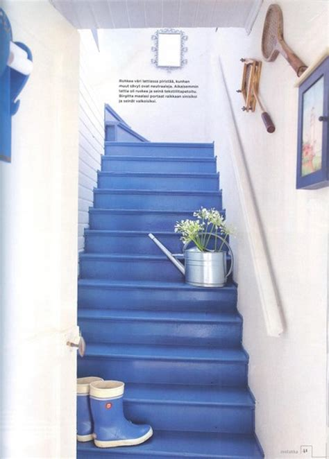 Blue Bedroom Decorating Ideas by Bright Blue Painted Stairs