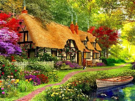 Enchanted Garden Pixdaus Comfy Cottage Artist Is Dominic Davison