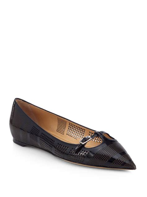 patent leather flats ferragamo patty perforated patent leather ballet flats in black lyst