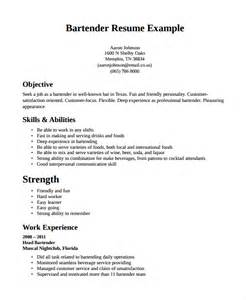 bartender templates bartender resume template 6 free word pdf document