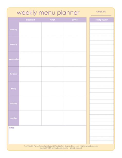 printable menu planner template search results for weekly food menu planner template