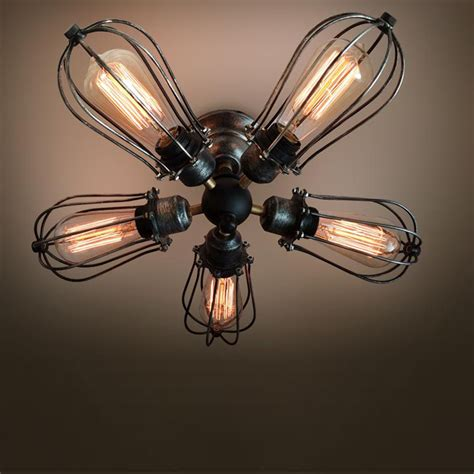 ceiling fan with edison lights 5 arm industrial ceiling light edison bulb ceiling ls