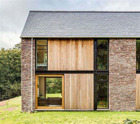 Superior Renovating A Barn Into A House #6: Bednarczyk-Barn-Style-Stone-House-Exterior.jpg