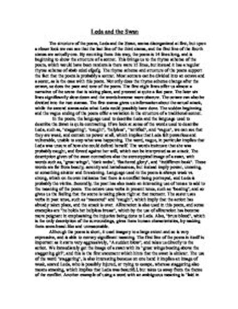 Leda And The Swan Analysis Essay by Leda And The Swan A Level Marked By Teachers