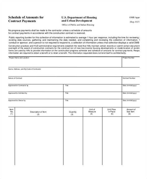payment schedule agreement template contract payment schedule template 10 free word pdf