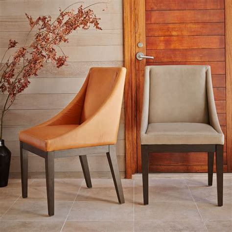 Curved Leather Chair West Elm Curved Leather Dining Chair