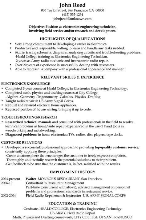 Resume Template Electronics Technician resume sle electronics engineering technician