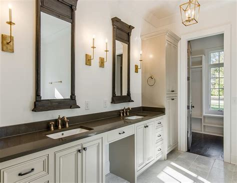 Restoration Hardware Bathroom Mirror by Gray And Gold Bathroom With Restoration Hardware Trumeau