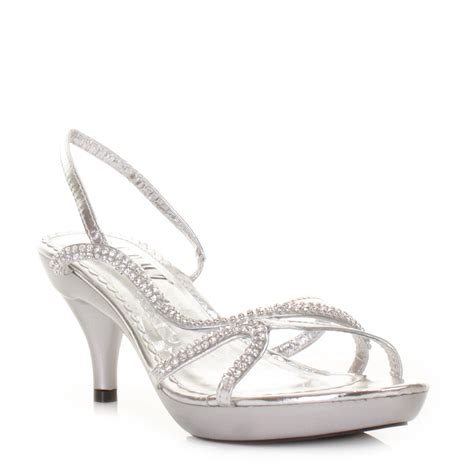 prom shoes womens low heel silver strappy slingback