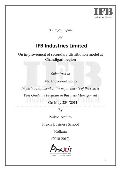 Cover Letter For Internship Report A Summer Internship Report On Ifb