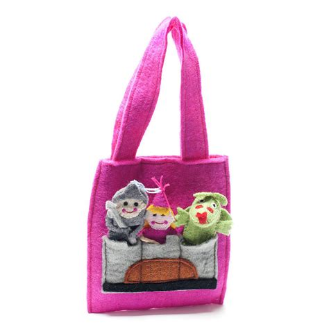 Handmade Felt Bags - handmade felt finger puppet bag by felt so