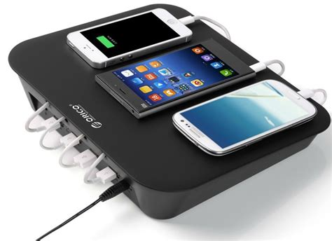 charging station orico has a 4 port usb charging station with cable