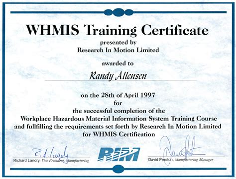 whmis certificate template certification template great resume templates for