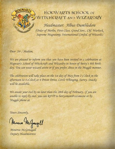 Invitation Letter Harry Potter Hogwarts Invitation Letter Printable Pictures To Pin On