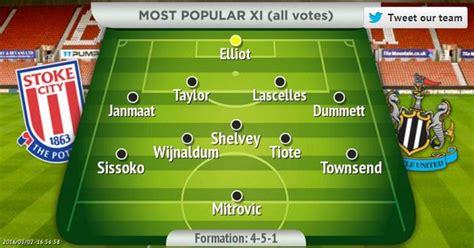 city fan selector stoke city vs newcastle team selector fans choose five in