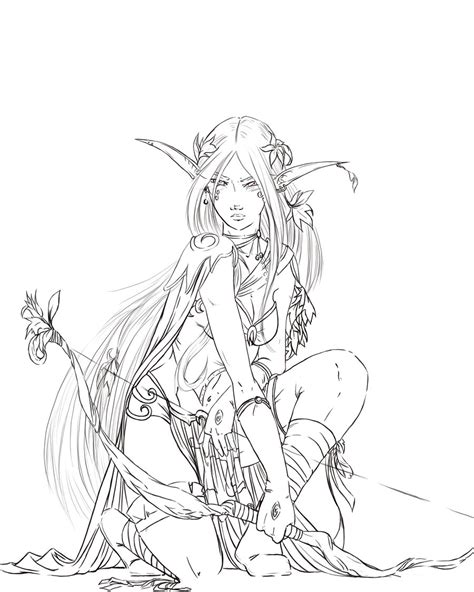 wood elves coloring pages warhammer elf by justonewing on deviantart