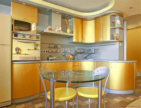 Backsplash For Yellow Kitchen A Modern Gold Kitchen With Curved Cabinets