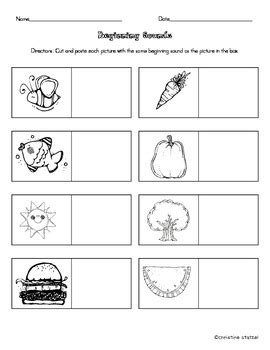 Beginning Sounds Cut And Paste Worksheets by Beginning Sounds Cut Paste Activity Worksheet By
