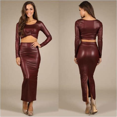 Maxi Shiren Set Maroon 3in1 faux leather crop maroon set sleeve maxi skirt new s m l sol jersey glam