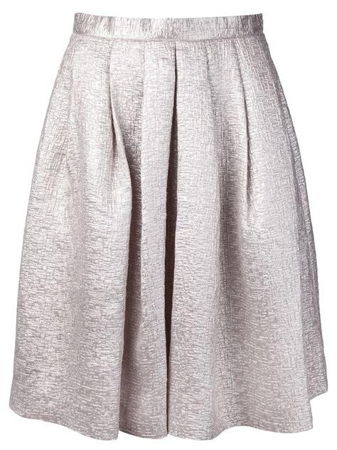 ar midi tuck skirt in silver metallic lyst