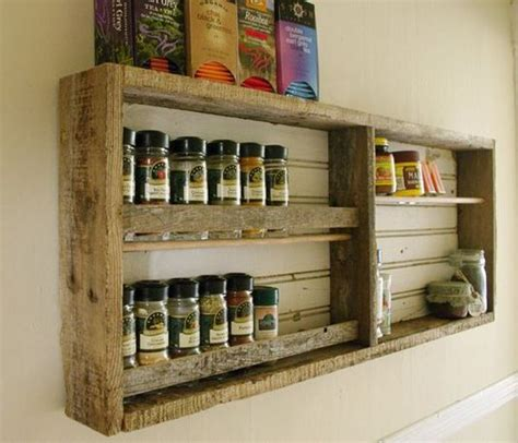 Wood Pallet Spice Rack how to design a kitchen on a budget