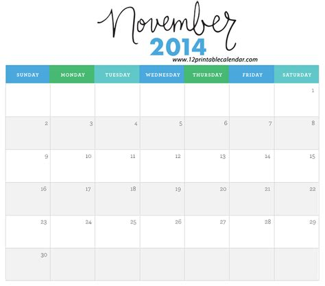 printable calendar 2014 november 6 best images of cute printable calendars november cute