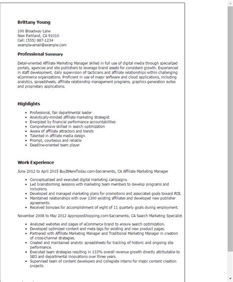 Affiliate Sales Cover Letter by 1 Affiliate Marketing Manager Resume Templates Try Them Now Myperfectresume