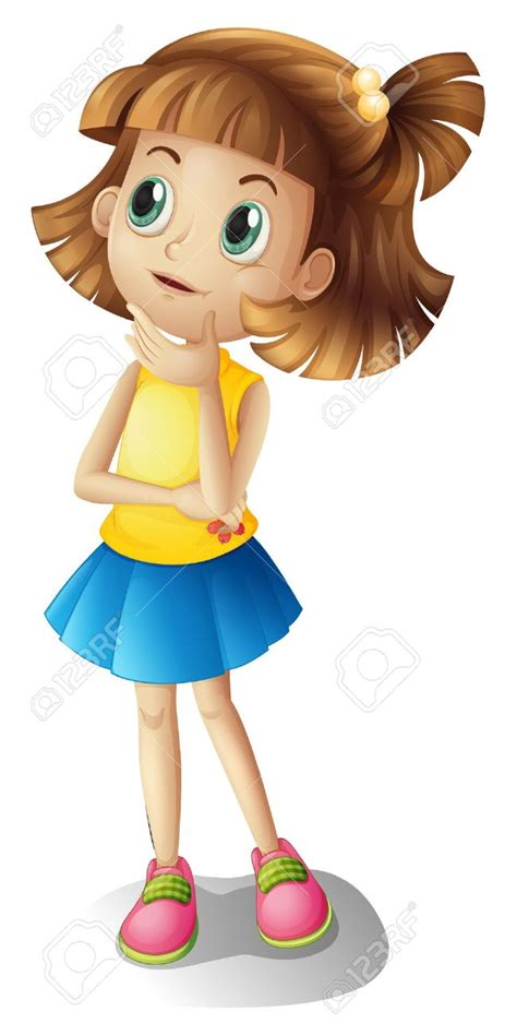 cute cartoon girl thinking royalty free stock photos girl clipart thinking pencil and in color girl clipart