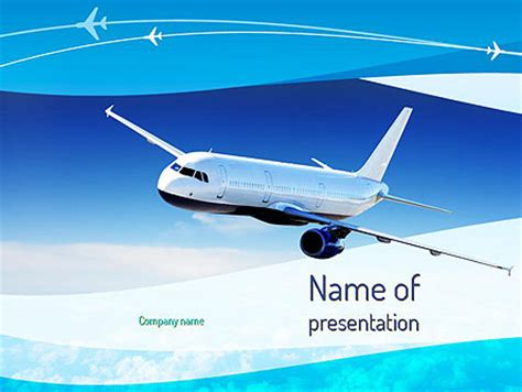 airplane in the sky powerpoint template backgrounds
