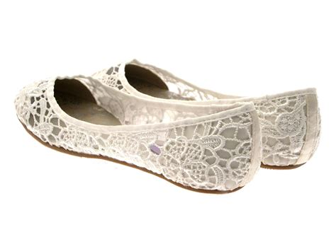 Flat Bridesmaid Shoes by Womens Ivory Lace Ballet Pumps Flat Bridal Bridesmaid