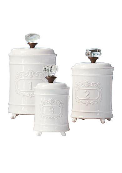 mud pie 4931002 kitchen canister set of 3 white buy mud pie 174 circa 3 piece door knob canister set belk