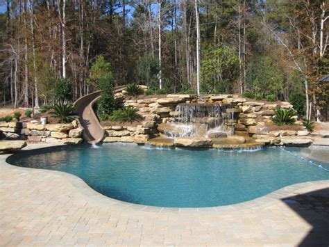 Water Slides For Backyard Pools by Back Yard Water Slide Water Fall Traditional Pool