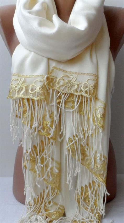 gold lace ivory pashmina shawl bridesmaid