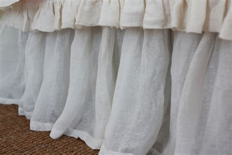linen bed skirt linen voile bedskirts by pom pom off the cape