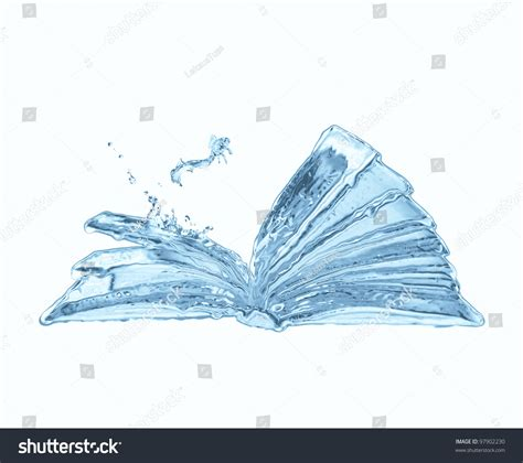 water book water opened book small jumping fish stock illustration 97902230