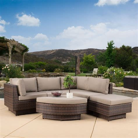 Patio Furniture Sectional Outdoor Patio Furniture 6 Multi Brown Pe Wicker Sofa Sectional Ebay