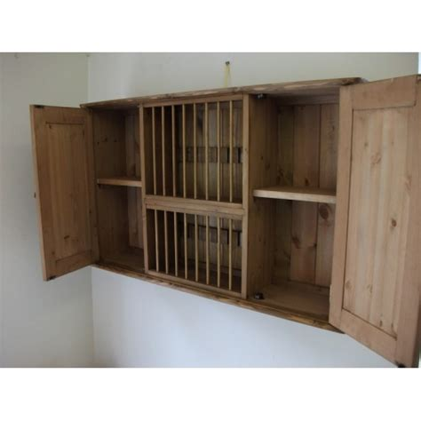 Pine Plate Racks For Kitchens by Pine 18 Plate Rack With Cupboards W107cm