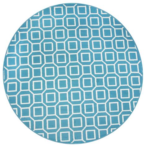 geometric pattern round glendale geometric squares pattern round rug in blue